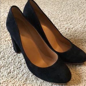J Crew Black Suede Heels Size 8.5